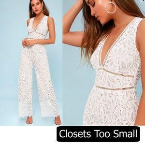 White Lulu's Lace Jumpsuit Size Small